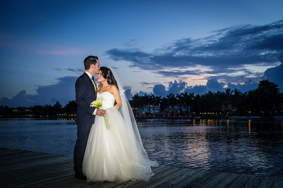 Miami Beach Resort Wedding romantic newlyweds portrait