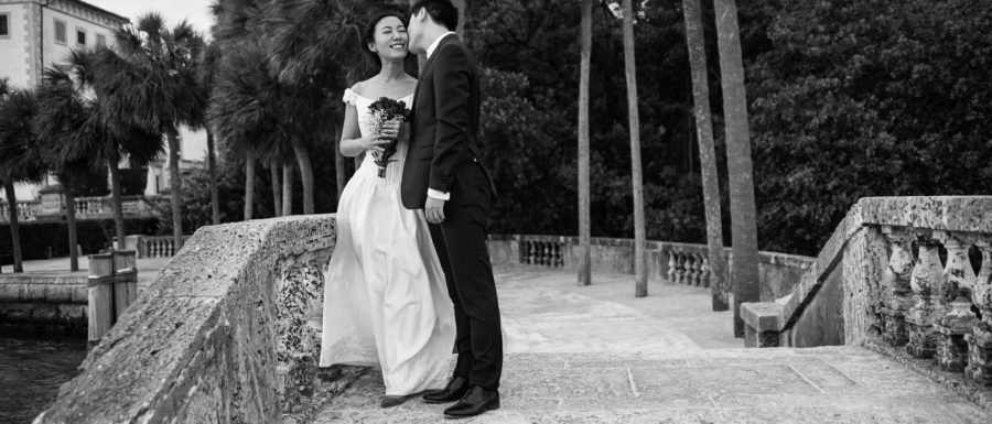 beautiful asian newlywed couple in Vizcaya