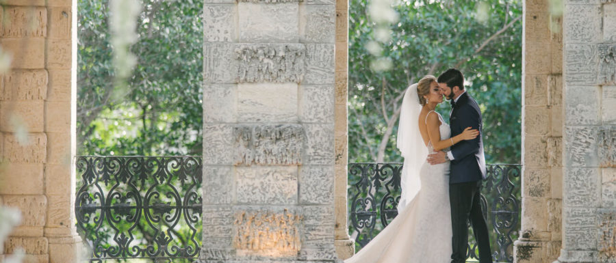 newlyweds at Vizcaya Museum & Gardens Wedding