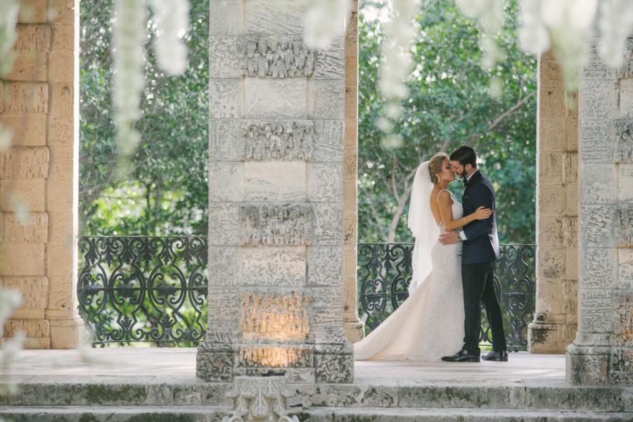 newlyweds at Vizcaya Museum & Gardens Wedding