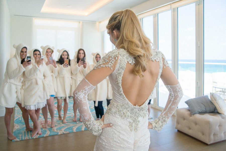 luxury bride and bridesmaids