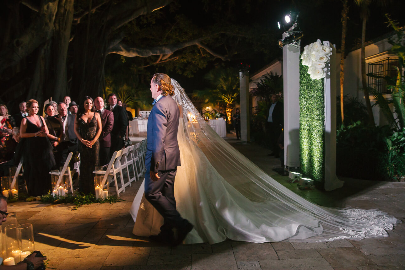 bride is coming for Fisher Island Club Wedding ceremony