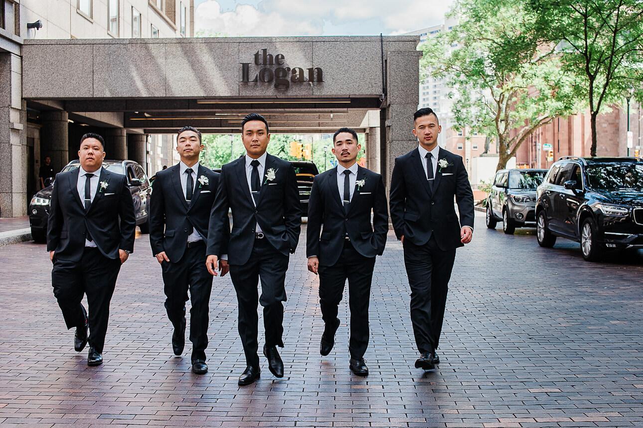 groomsman at Logan Philadelphia hotel