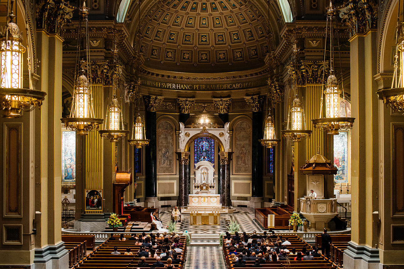 The Cathedral Basilica of Saints and Paul in Philadelphia wedding ceremony