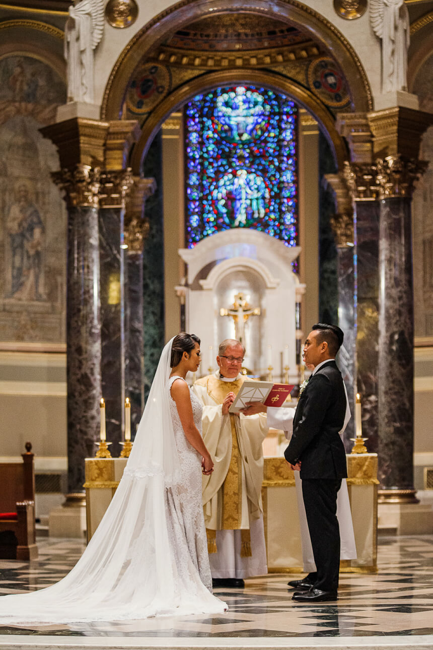 bride and groom at The Cathedral Basilica of Saints and Paul in Philadelphia wedding ceremony