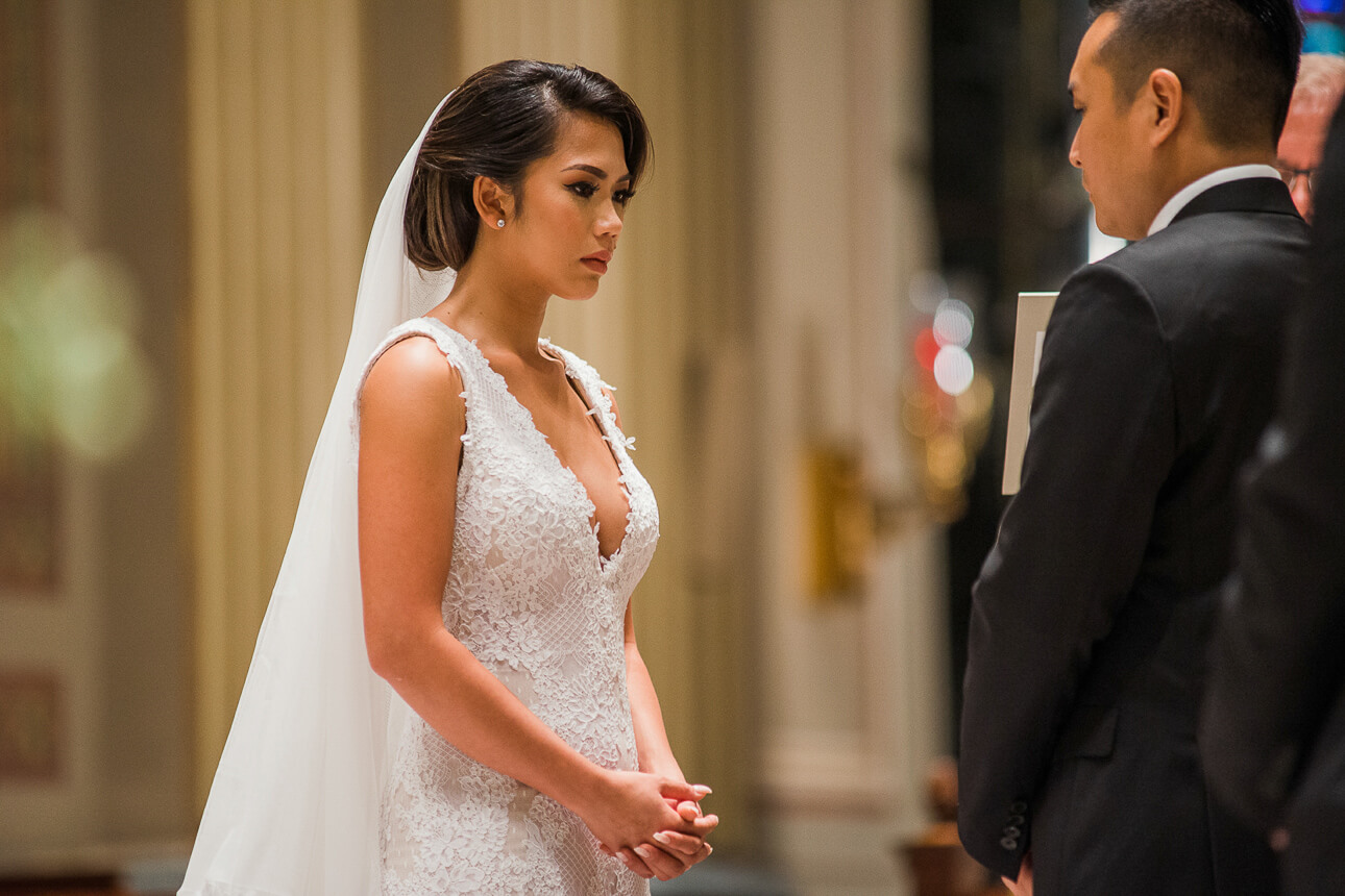 bride at The Cathedral Basilica of Saints and Paul in Philadelphia wedding