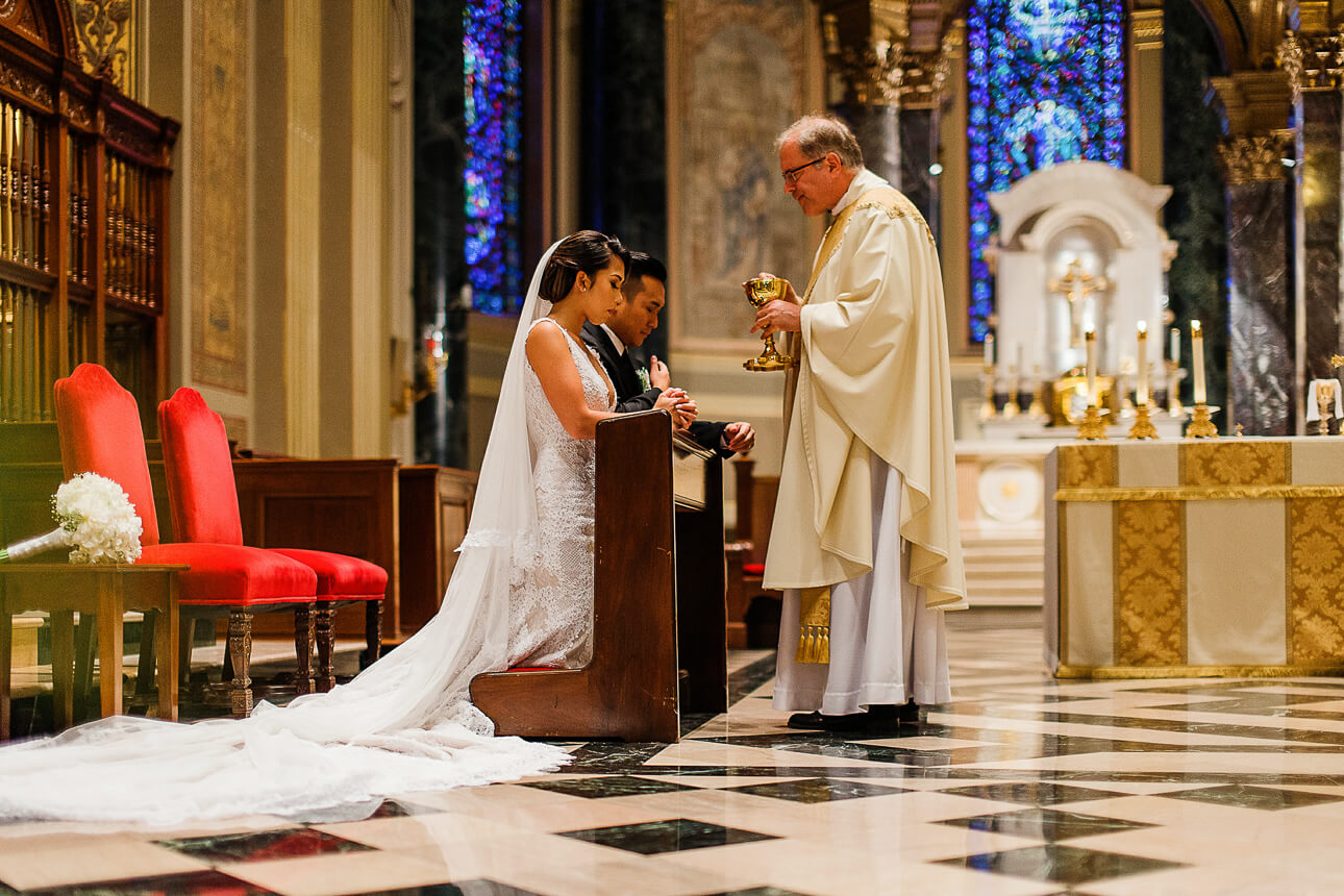 wedding ceremony at The Cathedral Basilica of Saints and Paul in Philadelphia