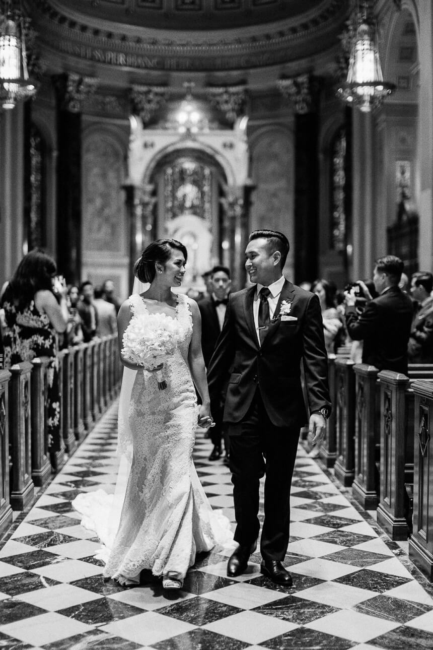 Loan and Viktor at The Cathedral Basilica of Saints and Paul in Philadelphia wedding