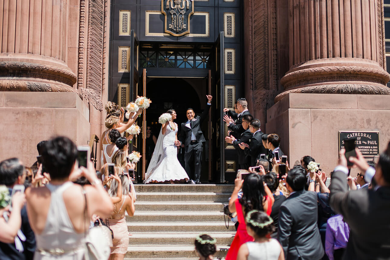 wedding grand exit at The Cathedral Basilica of Saints and Paul in Philadelphia