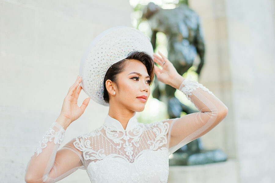 Korean bride at the Rodin Musem wedding