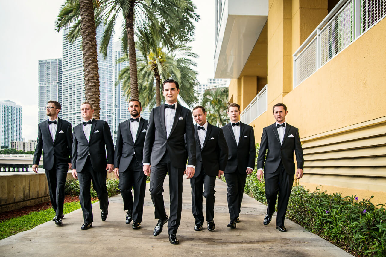 bridal party at Mandarin Oriental Miami wedding