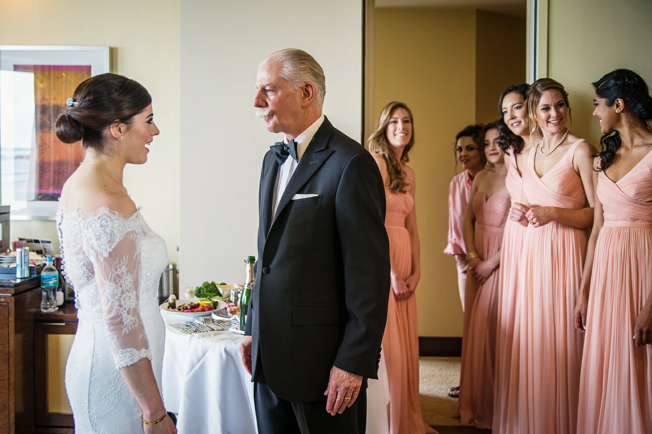 dad's first look at Mandarin Oriental Miami wedding