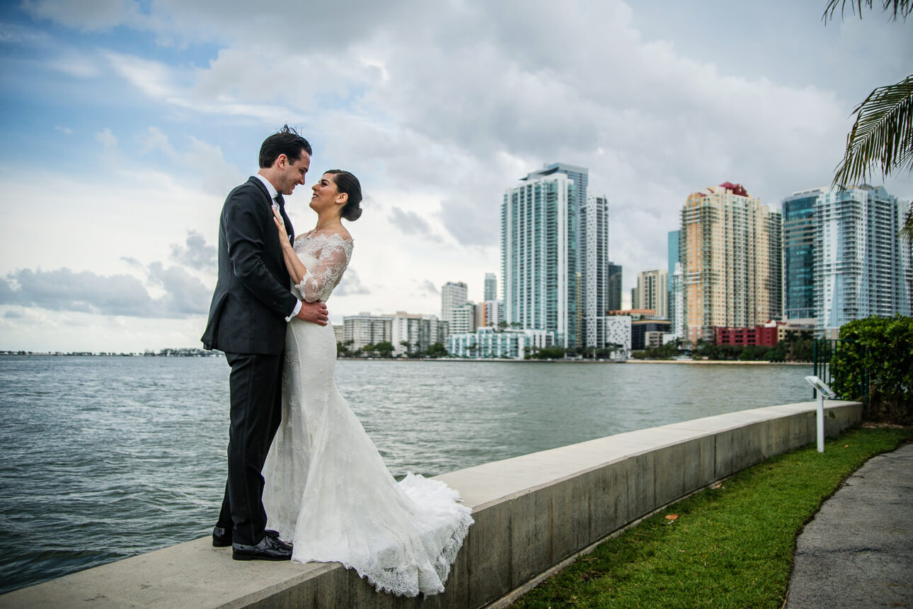 newlyweds at Mandarin Oriental Miami wedding