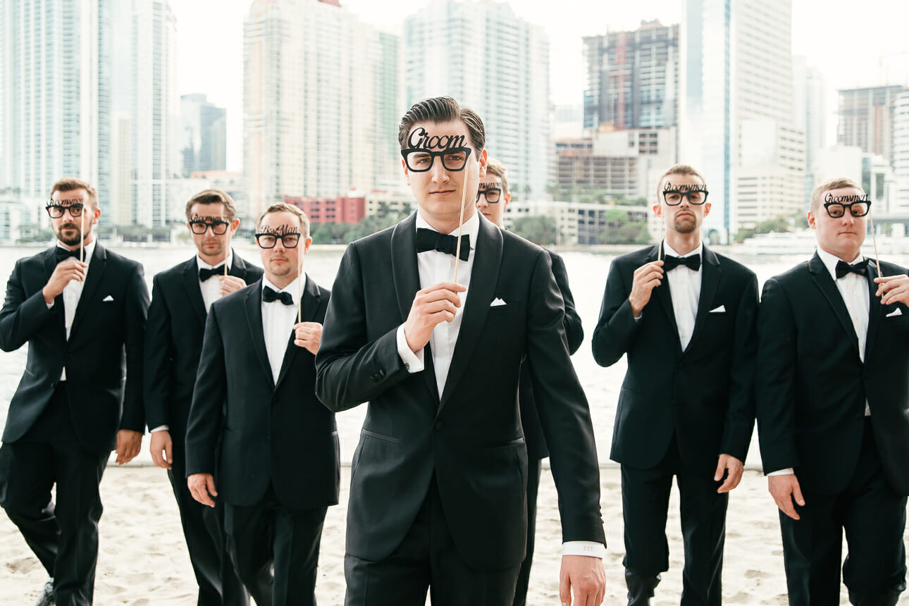 groomsman at Mandarin Oriental Miami wedding